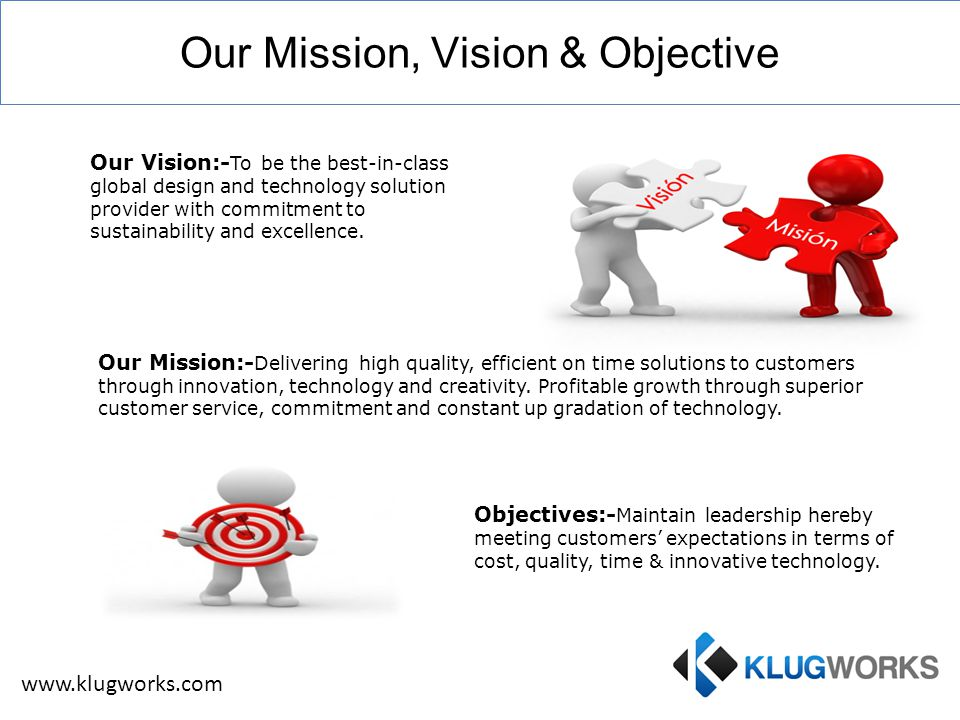 Our Mission, Vision & Objective Our Vision:- To be the best-in-class global design and technology solution provider with commitment to sustainability and excellence.