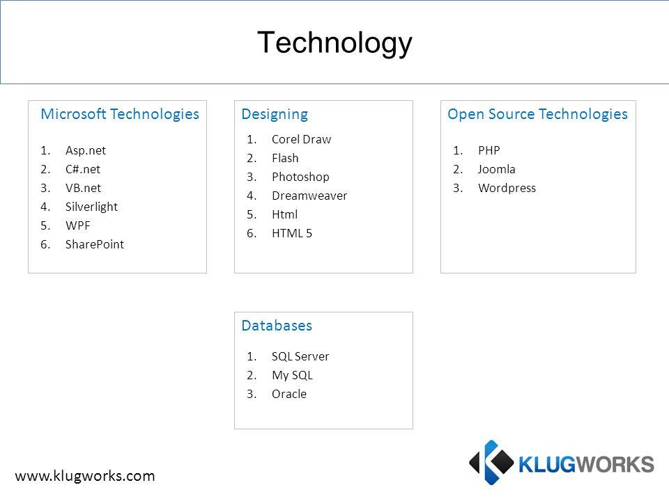 1.Asp.net 2.C#.net 3.VB.net 4.Silverlight 5.WPF 6.SharePoint Designing 1.Corel Draw 2.Flash 3.Photoshop 4.Dreamweaver 5.Html 6.HTML 5 1.PHP 2.Joomla 3.Wordpress 1.SQL Server 2.My SQL 3.Oracle Technology Microsoft TechnologiesOpen Source Technologies Databases www.klugworks.com
