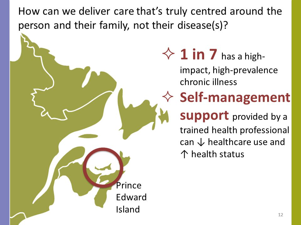Prince Edward Island 12  1 in 7 has a high- impact, high-prevalence chronic illness  Self-management support provided by a trained health professional can ↓ healthcare use and ↑ health status How can we deliver care that's truly centred around the person and their family, not their disease(s).