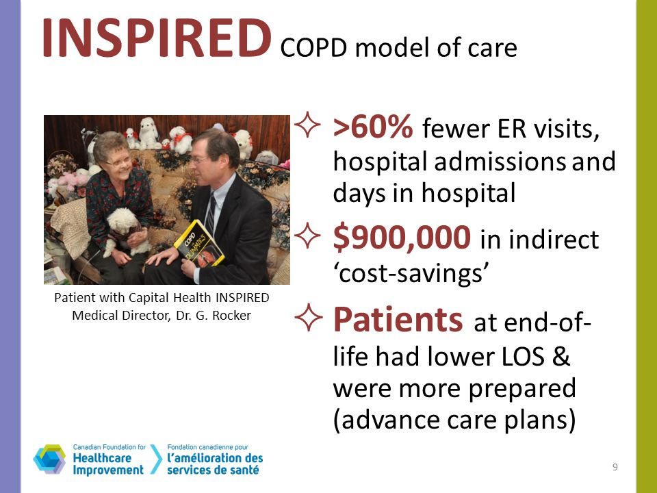  >60% fewer ER visits, hospital admissions and days in hospital  $900,000 in indirect 'cost-savings'  Patients at end-of- life had lower LOS & were more prepared (advance care plans) INSPIRED COPD model of care 9 Patient with Capital Health INSPIRED Medical Director, Dr.