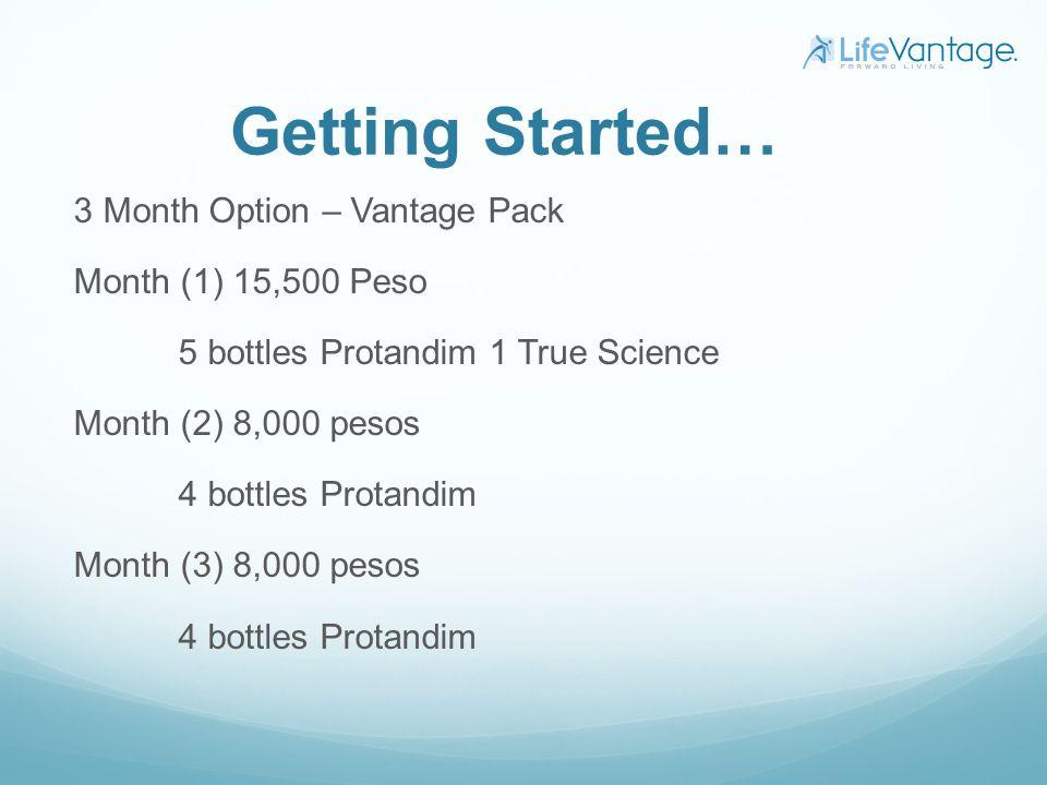 Getting Started… 3 Month Option – Vantage Pack Month (1) 15,500 Peso 5 bottles Protandim 1 True Science Month (2) 8,000 pesos 4 bottles Protandim Mont