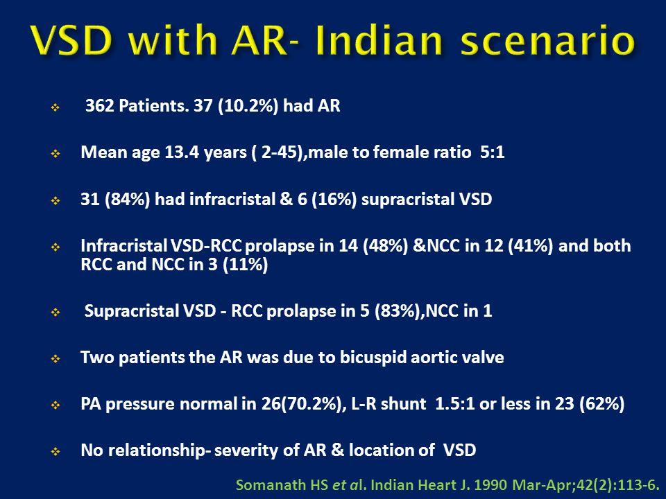  362 Patients. 37 (10.2%) had AR  Mean age 13.4 years ( 2-45),male to female ratio 5:1  31 (84%) had infracristal & 6 (16%) supracristal VSD  Infr