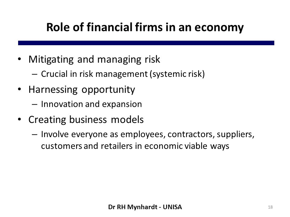 Role of financial firms in an economy Mitigating and managing risk – Crucial in risk management (systemic risk) Harnessing opportunity – Innovation and expansion Creating business models – Involve everyone as employees, contractors, suppliers, customers and retailers in economic viable ways 18 Dr RH Mynhardt - UNISA