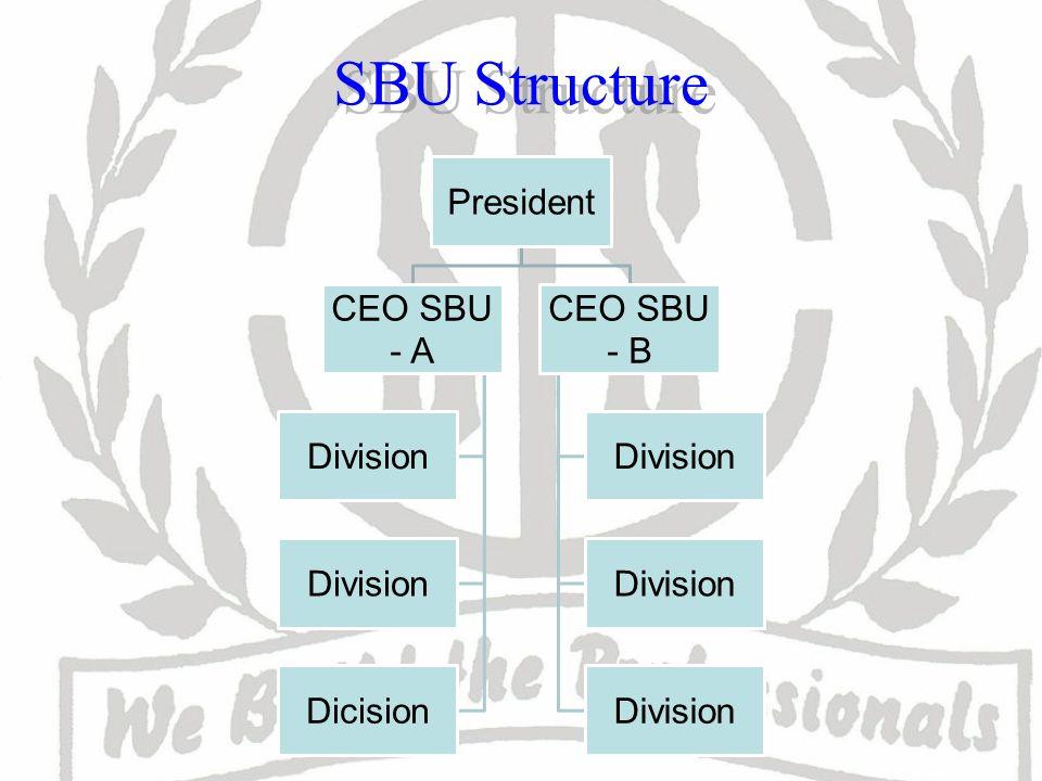 SBU Structure President CEO SBU - A Division Dicision CEO SBU - B Division