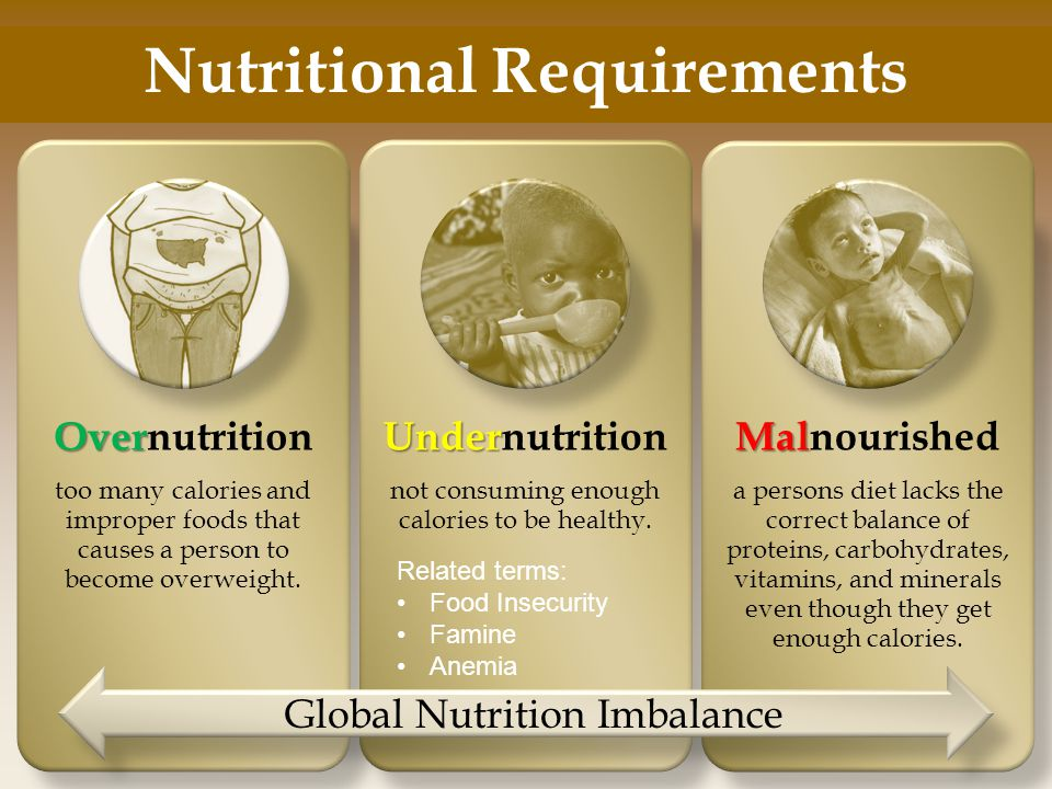 Nutritional Requirements Over Overnutrition too many calories and improper foods that causes a person to become overweight.
