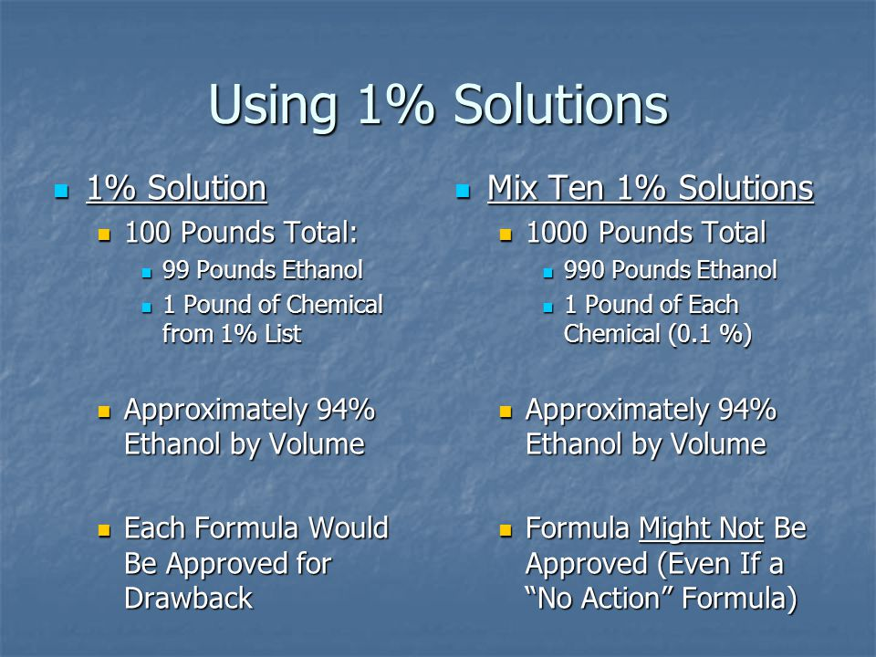 Using 1% Solutions Mix Ten 1% Solutions Mix Ten 1% Solutions 1000 Pounds Total 990 Pounds Ethanol 1 Pound of Each Chemical (0.1 %) Approximately 94% E