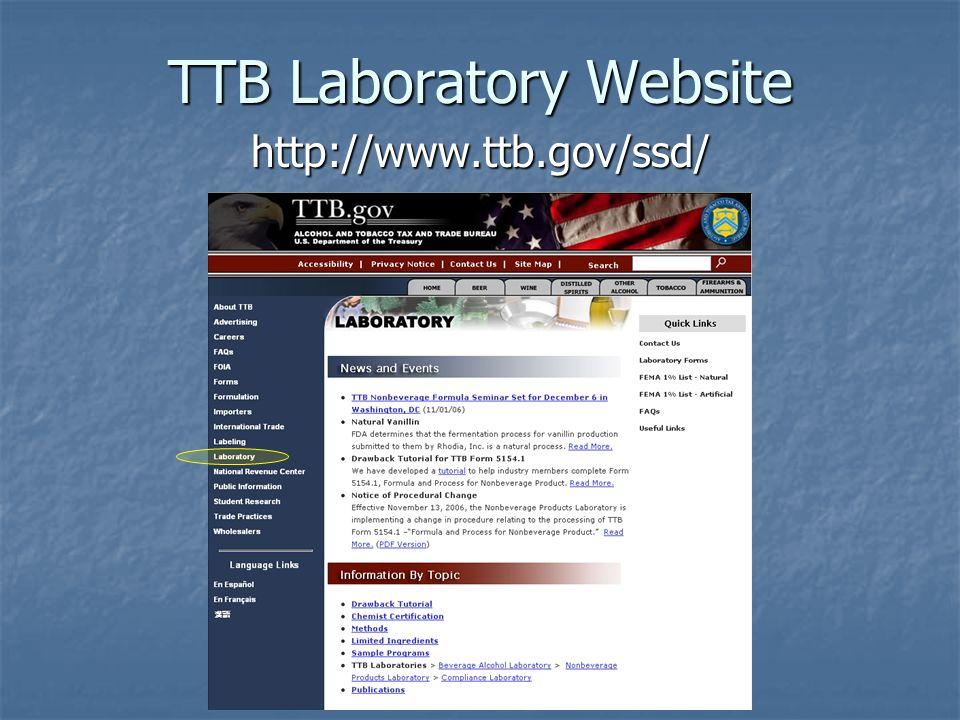 TTB Laboratory Website http://www.ttb.gov/ssd/
