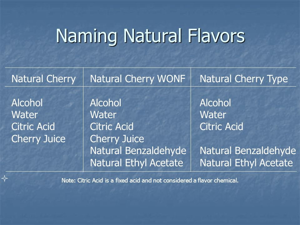 Naming Natural Flavors Natural Cherry Alcohol Water Citric Acid Cherry Juice Natural Cherry WONF Alcohol Water Citric Acid Cherry Juice Natural Benzaldehyde Natural Ethyl Acetate Natural Cherry Type Alcohol Water Citric Acid Natural Benzaldehyde Natural Ethyl Acetate Note: Citric Acid is a fixed acid and not considered a flavor chemical.