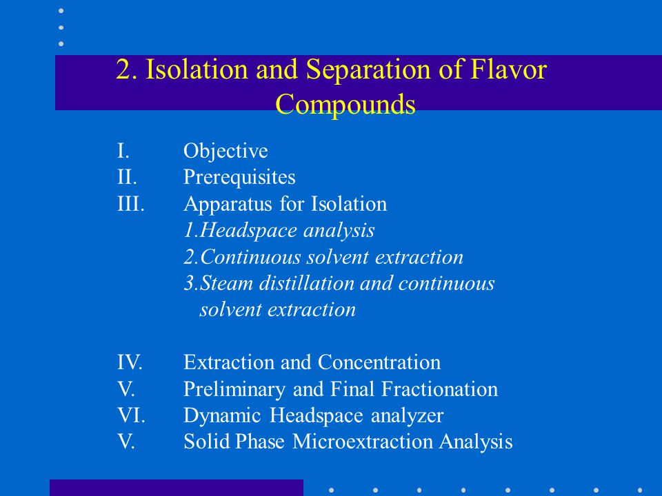 2. Isolation and Separation of Flavor Compounds I.Objective II.Prerequisites III.Apparatus for Isolation 1.Headspace analysis 2.Continuous solvent ext