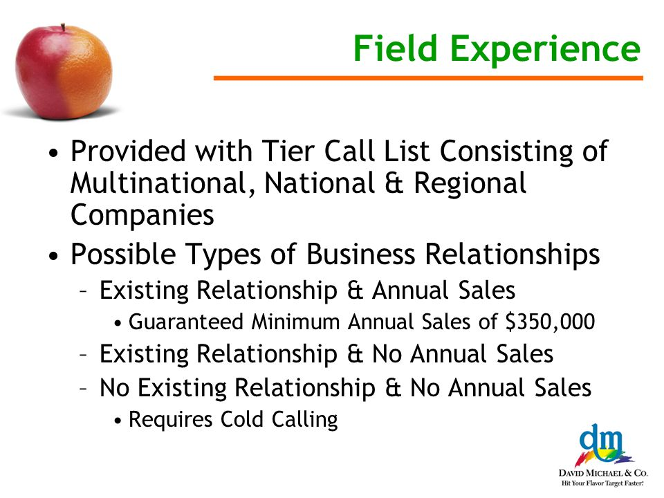 Field Experience Provided with Tier Call List Consisting of Multinational, National & Regional Companies Possible Types of Business Relationships –Existing Relationship & Annual Sales Guaranteed Minimum Annual Sales of $350,000 –Existing Relationship & No Annual Sales –No Existing Relationship & No Annual Sales Requires Cold Calling