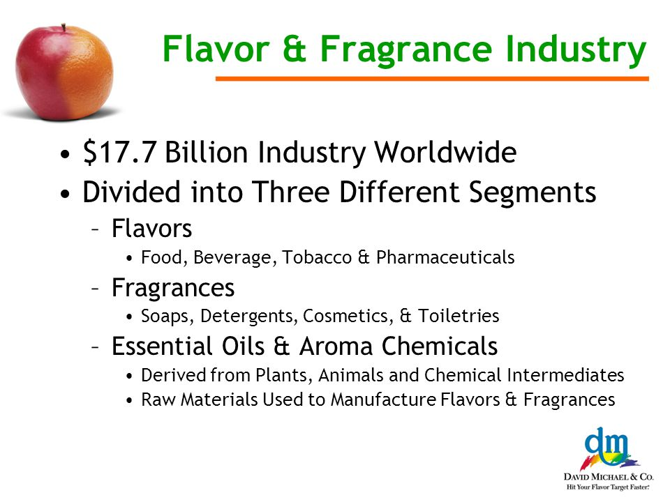 Flavor & Fragrance Industry $17.7 Billion Industry Worldwide Divided into Three Different Segments –Flavors Food, Beverage, Tobacco & Pharmaceuticals –Fragrances Soaps, Detergents, Cosmetics, & Toiletries –Essential Oils & Aroma Chemicals Derived from Plants, Animals and Chemical Intermediates Raw Materials Used to Manufacture Flavors & Fragrances