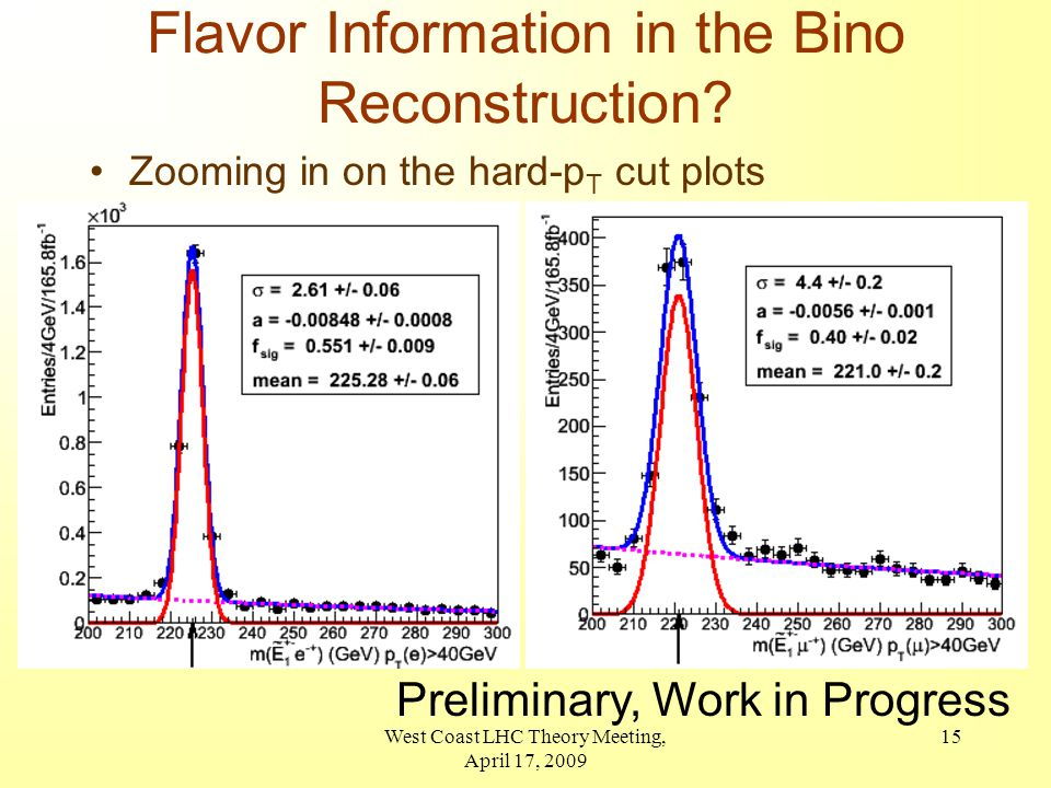West Coast LHC Theory Meeting, April 17, 2009 15 Flavor Information in the Bino Reconstruction.