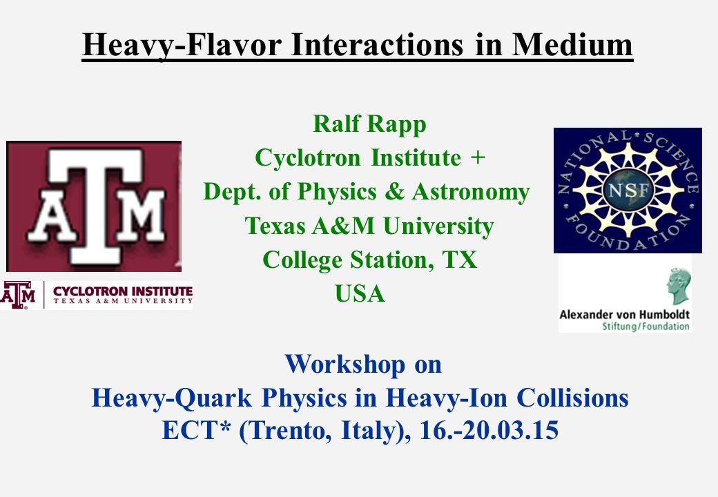 1.) Introduction: A Calibrated QCD Force  Vacuum charm-/bottomonium spectroscopy well described Confinement ↔ linear part of potential non-perturbative treatment in medium lattice QCD, potential/T-matrix approach, AdS/CFT, … relate quarkonia kinetics and heavy-flavor diffusion [Kaczmarek et al '03] V [½ GeV] r [½ fm]