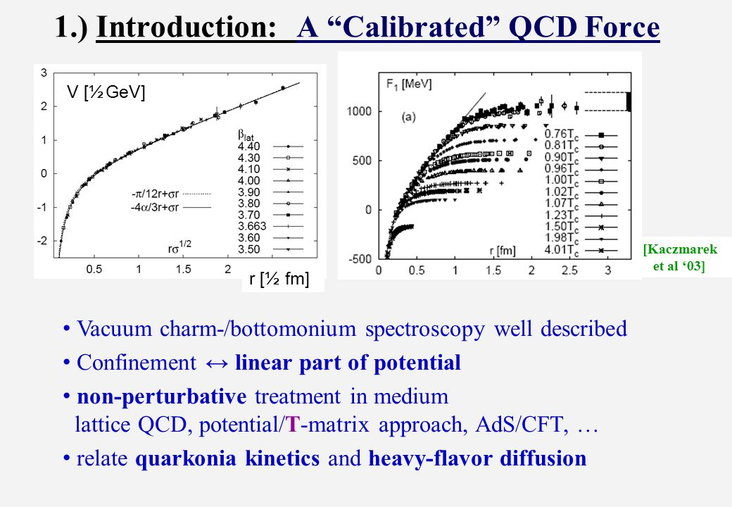 5.) Conclusions Heavy-quark potential in QGP from lQCD F: Bayesian, T-matrix - Large imaginary parts - Remnants of confinement generate strong coupling Critical consequences for heavy-flavor diffusion Continuity + minimum of transport coefficient through T pc No principal difference between diffusion forces + hadronization Sequential recombination of charmonia?.