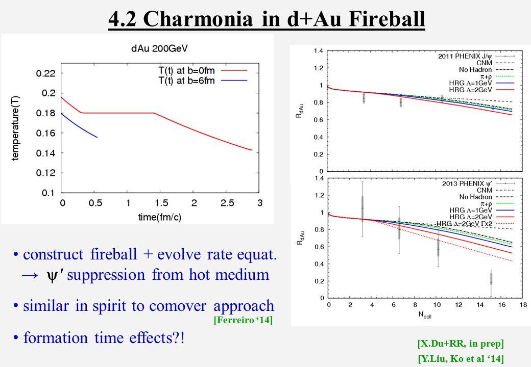 4.2 Charmonia in d+Au Fireball construct fireball + evolve rate equat.