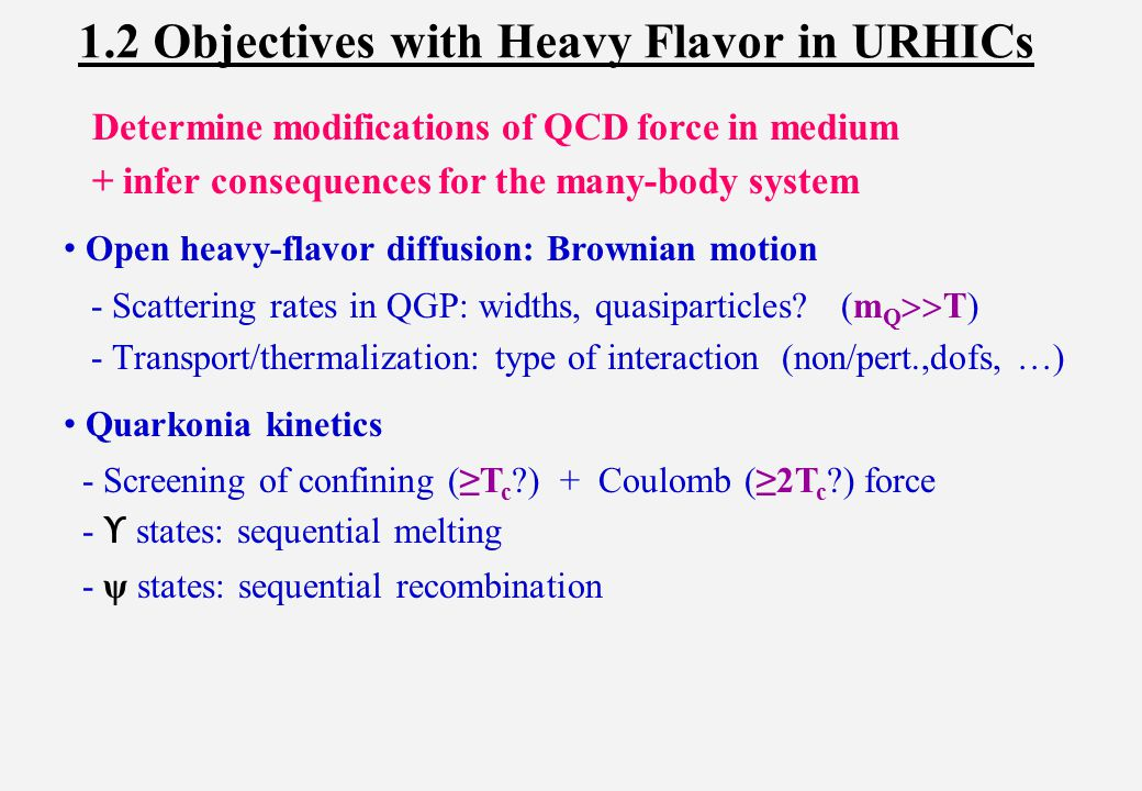 1.) Introduction 2.) Heavy-Quark Interactions in QGP 3.) Open Heavy-Flavor Transport 4.) Quarkonia: ψ Puzzle(s) 5.) Conclusions Outline