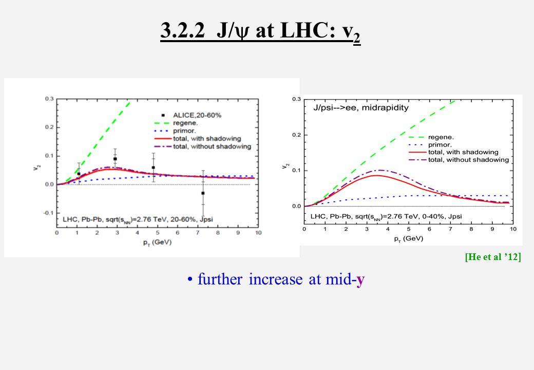 3.2.2 J/  at LHC: v 2 further increase at mid-y [He et al '12 ]