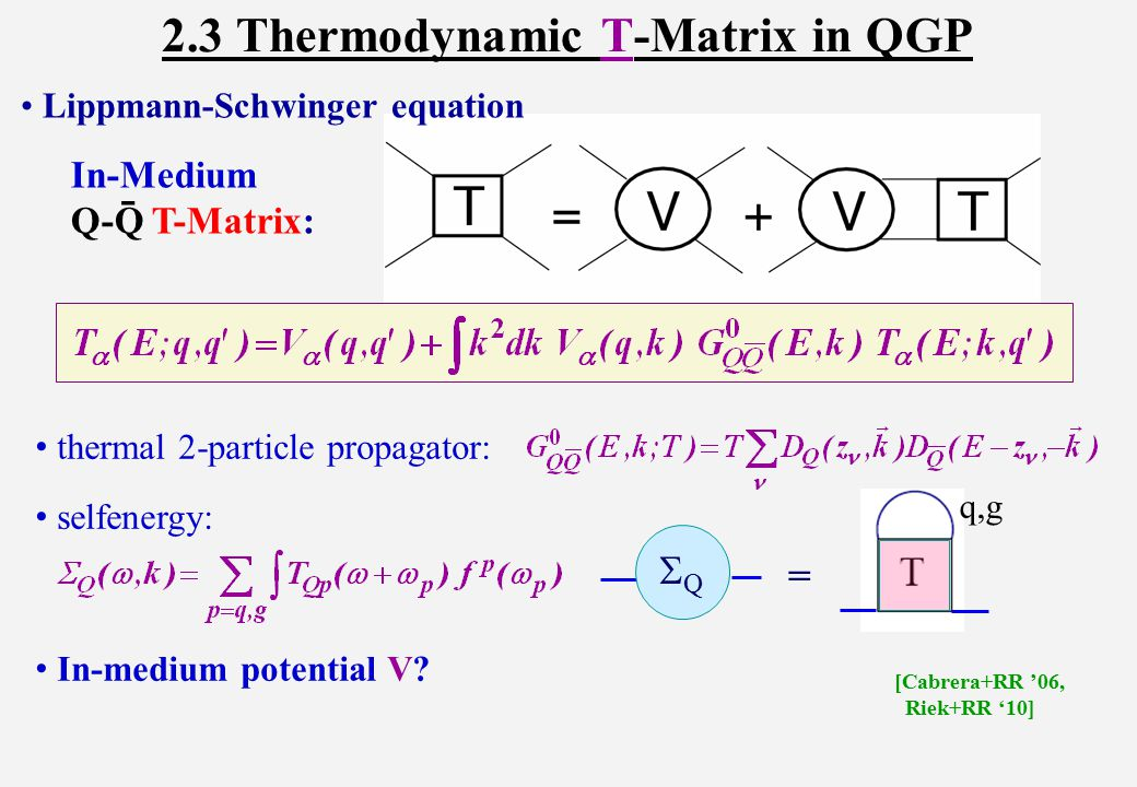 2.3.2 Free Energy from T-Matrix Key ingredients: imaginary parts + their  dependence heavy-quark selfenergies from previous T-matrix calculations [S.Liu+RR in progress ] Euclidean T-matrix in static limit Spectral Function Free Energy [S.Liu+RR '15] [Beraudo et al '08]