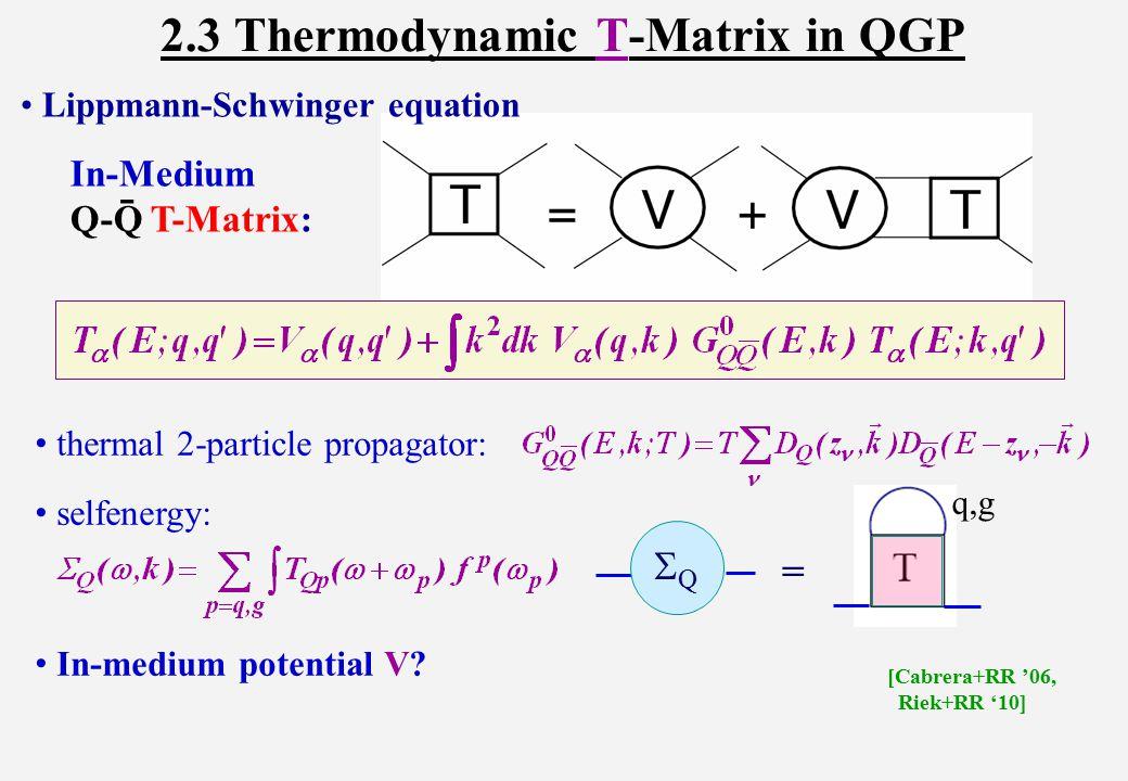 Lippmann-Schwinger equation In-Medium Q-Q T-Matrix: - 2.3 Thermodynamic T-Matrix in QGP thermal 2-particle propagator: selfenergy: In-medium potential V.