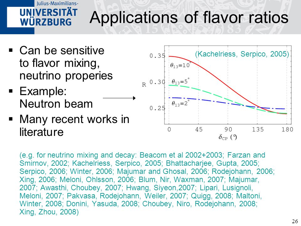 26 Applications of flavor ratios  Can be sensitive to flavor mixing, neutrino properies  Example: Neutron beam  Many recent works in literature (e.g.