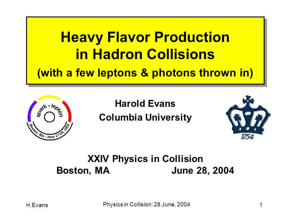 H.Evans Physics in Collision: 28 June, 2004 2 Why Study QCD at All .