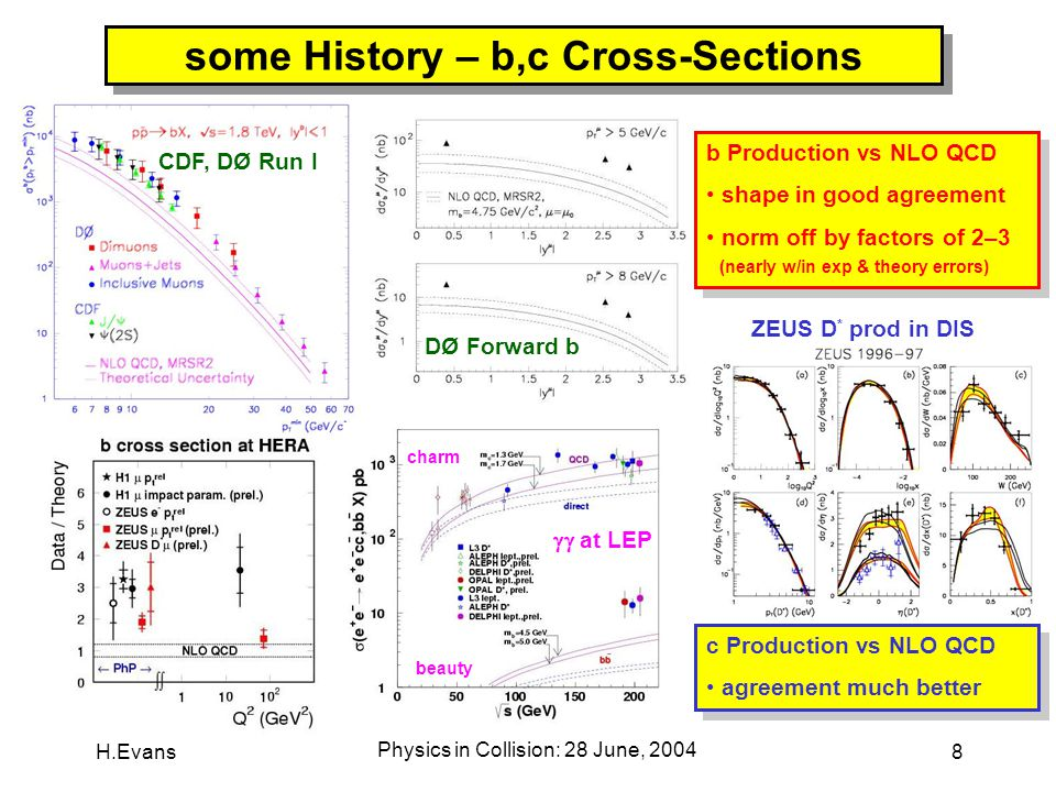 H.Evans Physics in Collision: 28 June, 2004 8 some History – b,c Cross-Sections DØ Forward b CDF, DØ Run I ZEUS D * prod in DIS  at LEP charm beauty b Production vs NLO QCD shape in good agreement norm off by factors of 2–3 (nearly w/in exp & theory errors) b Production vs NLO QCD shape in good agreement norm off by factors of 2–3 (nearly w/in exp & theory errors) c Production vs NLO QCD agreement much better c Production vs NLO QCD agreement much better