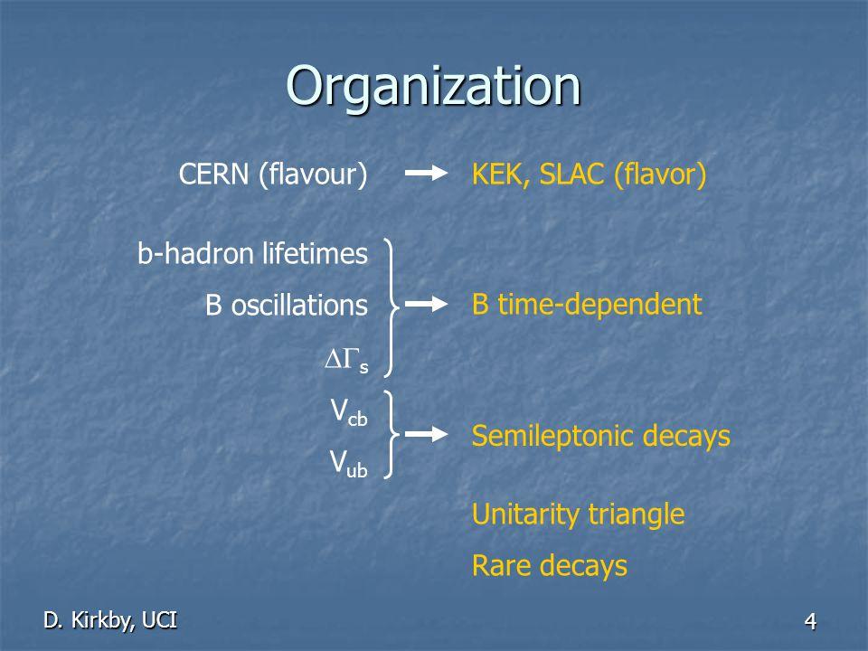 D. Kirkby, UCI 4 Organization b-hadron lifetimes B oscillations DG s V cb V ub B time-dependent Semileptonic decays Unitarity triangle Rare decays KEK