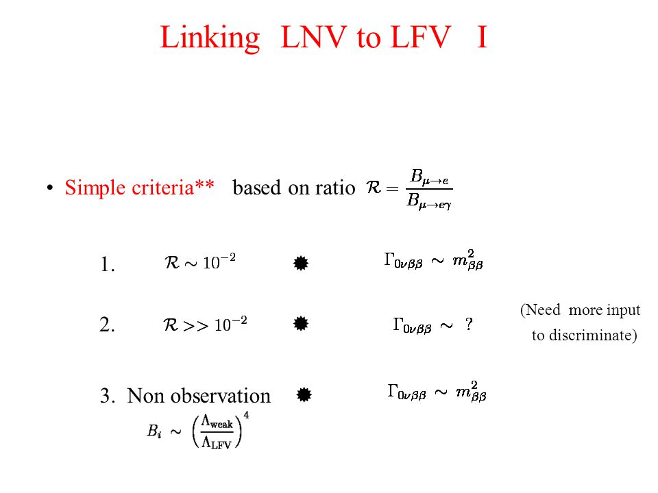 Linking LNV to LFV I Simple criteria** based on ratio 1.  2.  3. Non observation  (Need more input to discriminate)