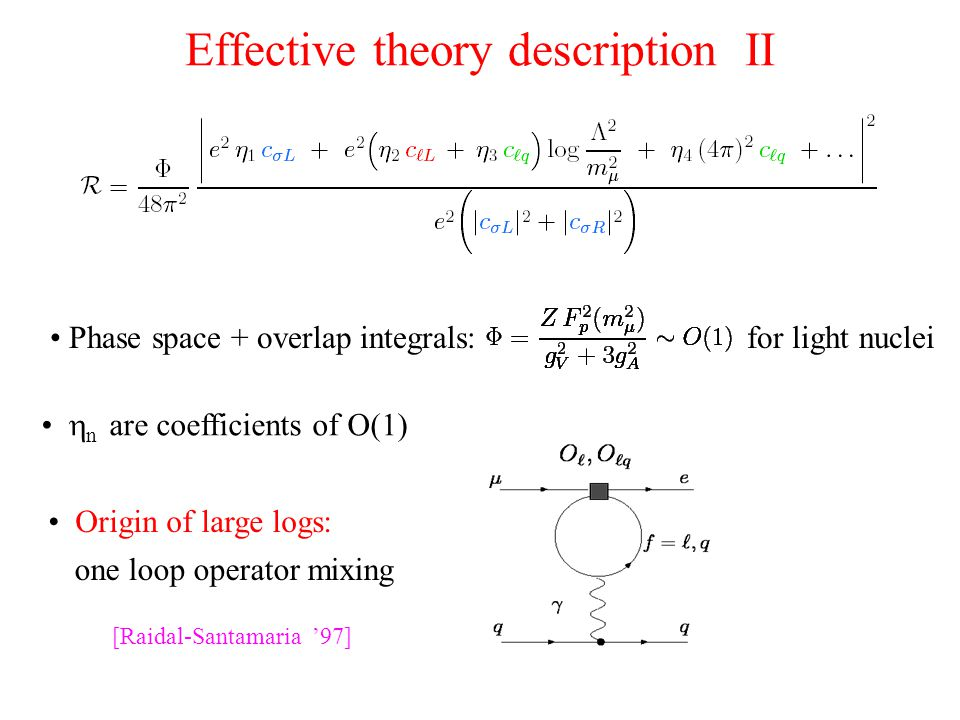 Effective theory description II Phase space + overlap integrals:  n are coefficients of O(1) Origin of large logs: one loop operator mixing for light