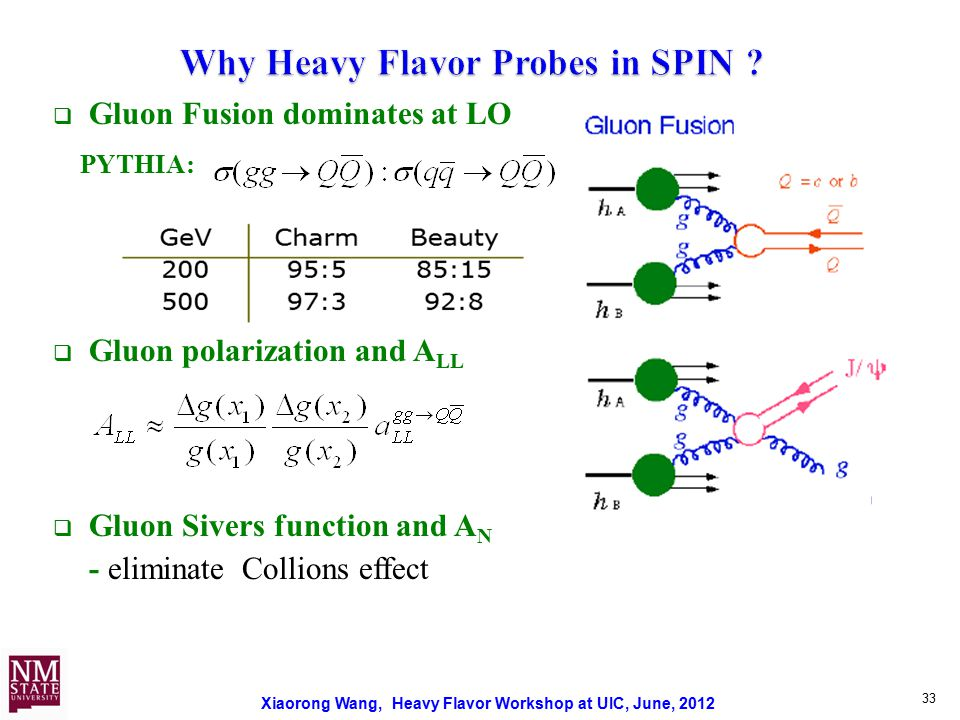 Xiaorong Wang, Heavy Flavor Workshop at UIC, June, 2012  Gluon Fusion dominates at LO PYTHIA:  Gluon polarization and A LL  Gluon Sivers function and A N - eliminate Collions effect 33
