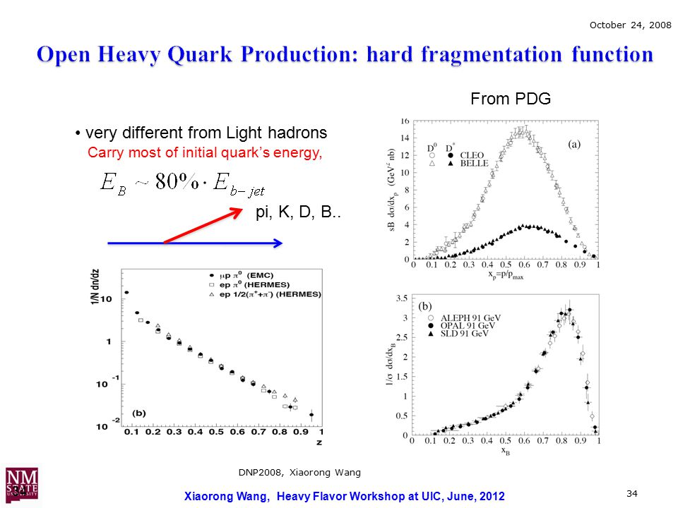 Xiaorong Wang, Heavy Flavor Workshop at UIC, June, 2012 34 October 24, 2008 DNP2008, Xiaorong Wang 34 very different from Light hadrons Carry most of initial quark's energy, pi, K, D, B..