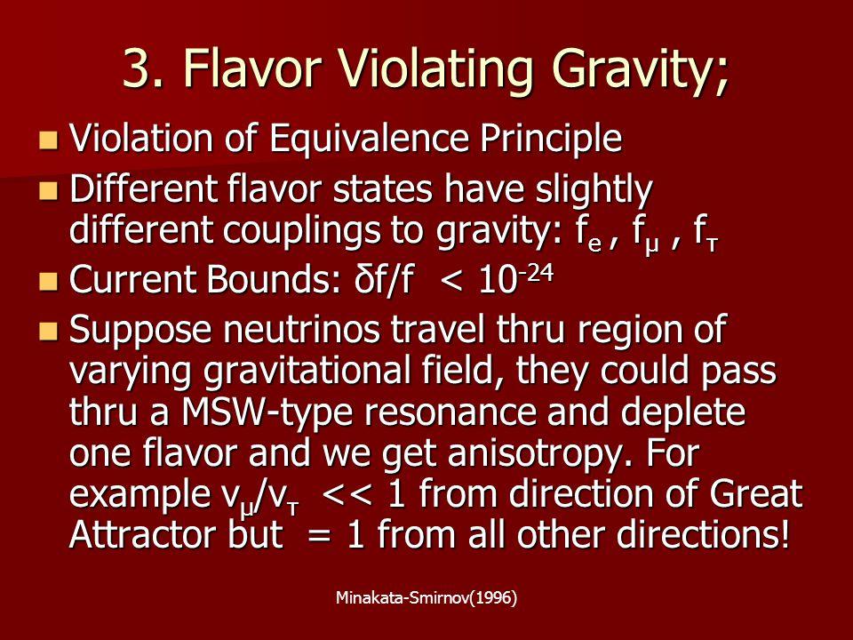 Minakata-Smirnov(1996) 3. Flavor Violating Gravity; Violation of Equivalence Principle Violation of Equivalence Principle Different flavor states have