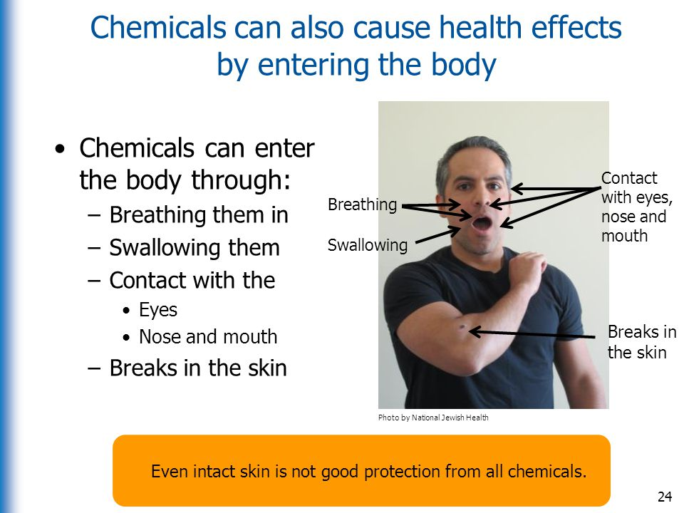 Chemicals can also cause health effects by entering the body Chemicals can enter the body through: –Breathing them in –Swallowing them –Contact with t