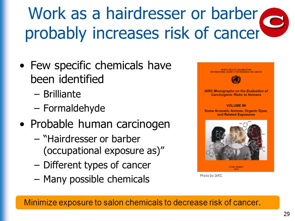 Work as a hairdresser or barber probably increases risk of cancer Few specific chemicals have been identified –Brilliante –Formaldehyde Probable human
