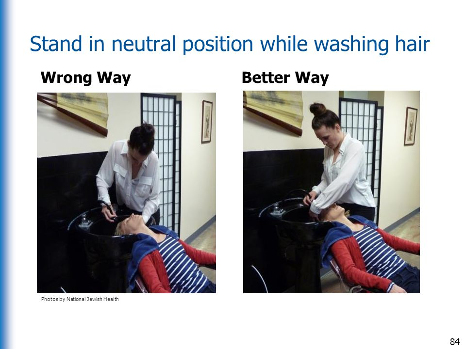 Stand in neutral position while washing hair Wrong Way Better Way 84 Photos by National Jewish Health