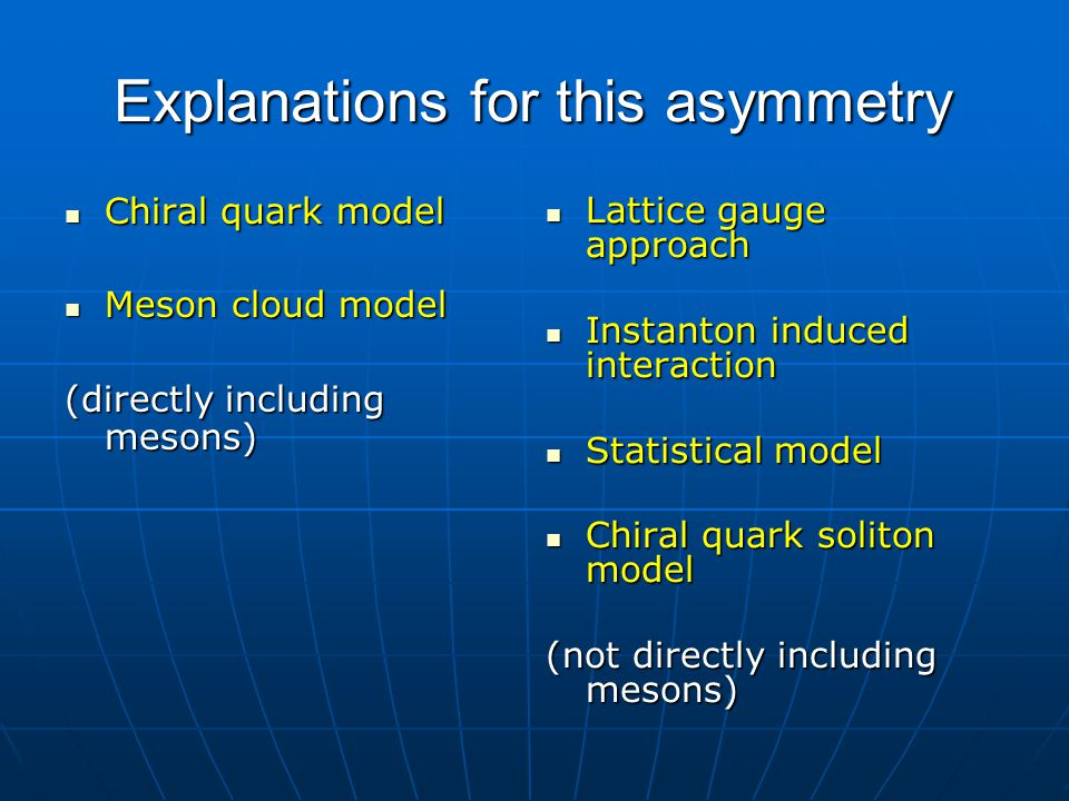 Explanations for this asymmetry Chiral quark model Chiral quark model Meson cloud model Meson cloud model (directly including mesons) Lattice gauge ap