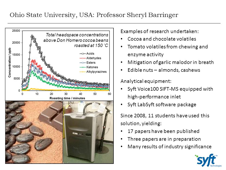 Ohio State University, USA: Professor Sheryl Barringer Examples of research undertaken: Cocoa and chocolate volatiles Tomato volatiles from chewing an