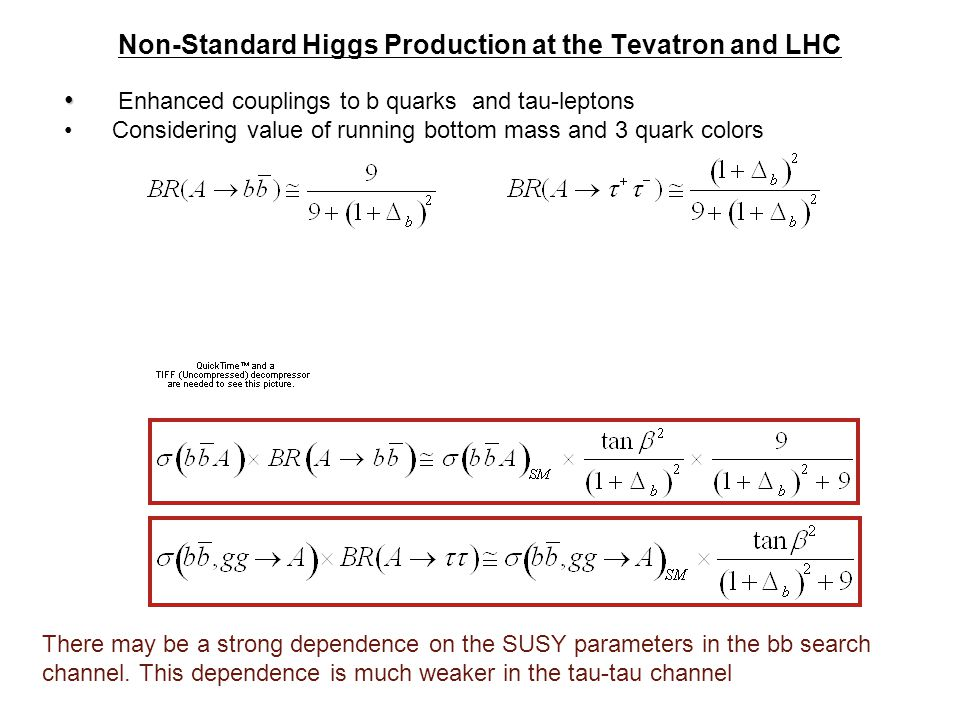 Non-Standard Higgs Production at the Tevatron and LHC Enhanced couplings to b quarks and tau-leptons Considering value of running bottom mass and 3 quark colors There may be a strong dependence on the SUSY parameters in the bb search channel.