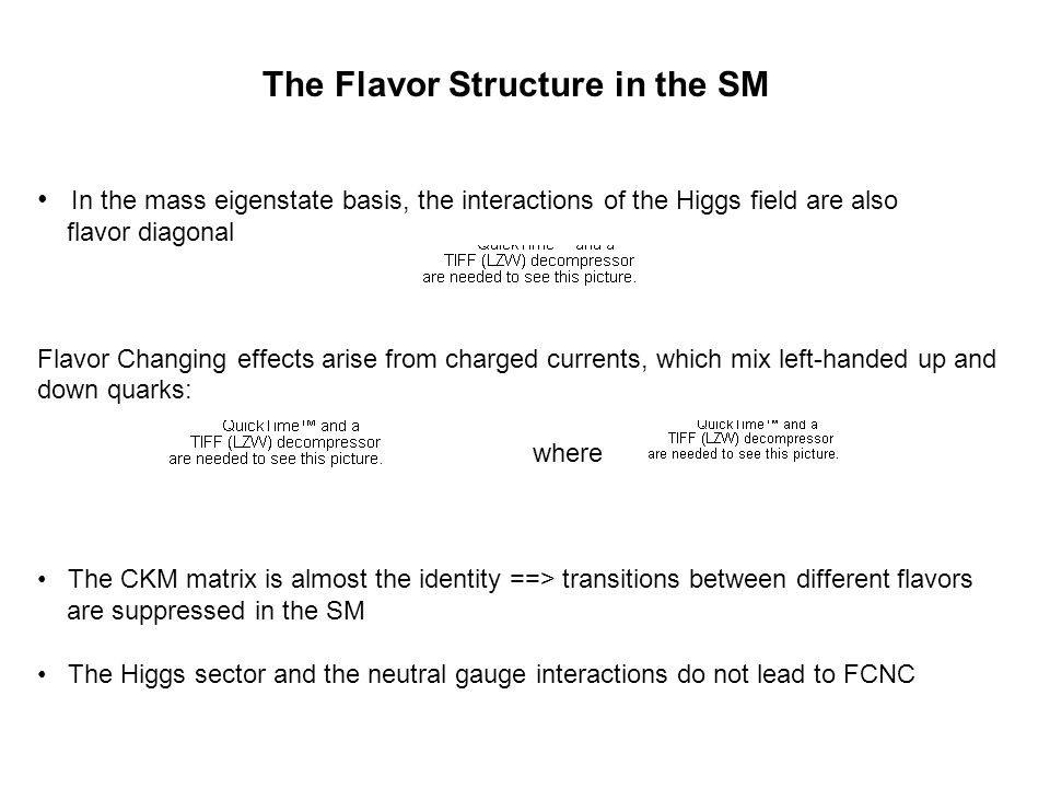 The Flavor Structure in the SM In the mass eigenstate basis, the interactions of the Higgs field are also flavor diagonal Flavor Changing effects arise from charged currents, which mix left-handed up and down quarks: where The CKM matrix is almost the identity ==> transitions between different flavors are suppressed in the SM The Higgs sector and the neutral gauge interactions do not lead to FCNC