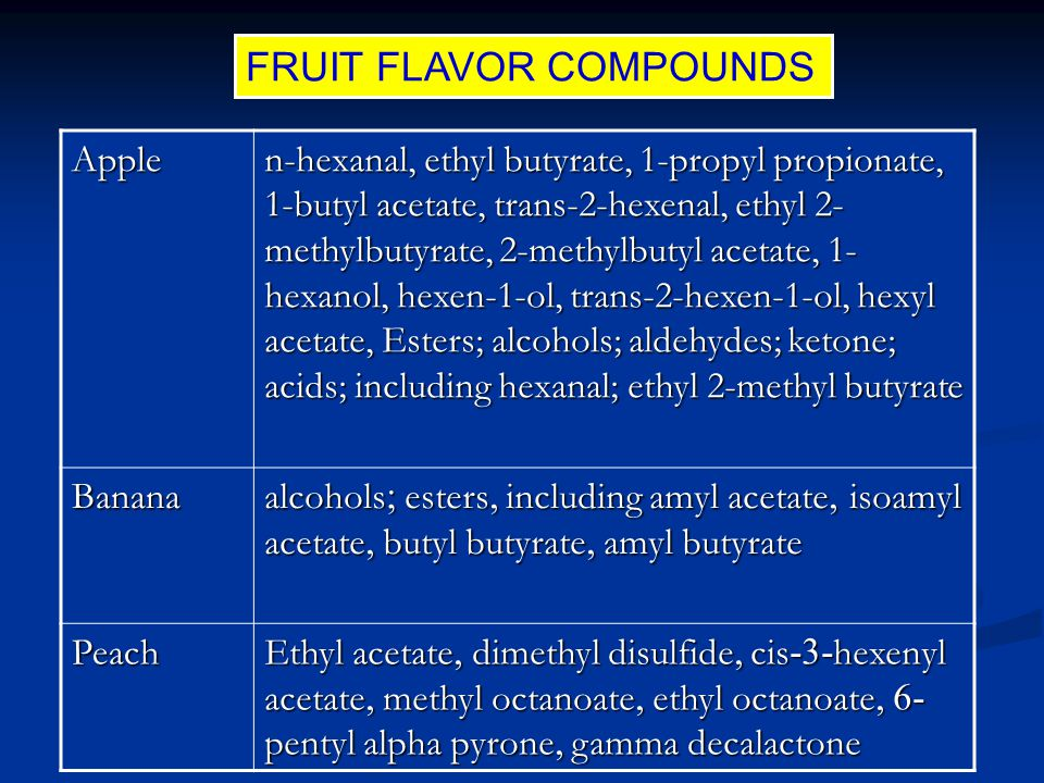 FRUIT FLAVOR COMPOUNDS Apple n-hexanal, ethyl butyrate, 1-propyl propionate, 1-butyl acetate, trans-2-hexenal, ethyl 2- methylbutyrate, 2-methylbutyl