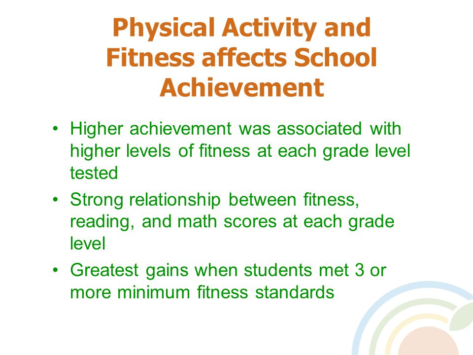 Physical Activity and Fitness affects School Achievement Higher achievement was associated with higher levels of fitness at each grade level tested Strong relationship between fitness, reading, and math scores at each grade level Greatest gains when students met 3 or more minimum fitness standards