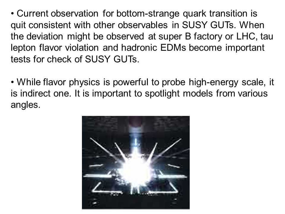 Current observation for bottom-strange quark transition is quit consistent with other observables in SUSY GUTs.