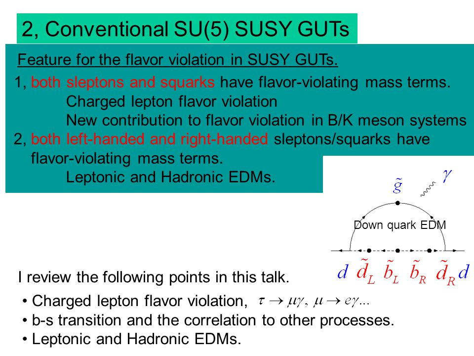 2, Conventional SU(5) SUSY GUTs 1, both sleptons and squarks have flavor-violating mass terms.