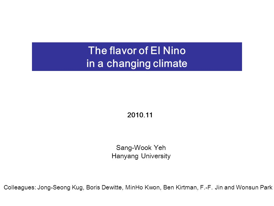 Composite of different flavor of El Nino events Time