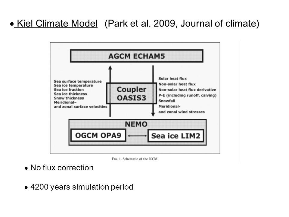 Kiel Climate Model  No flux correction  4200 years simulation period (Park et al.