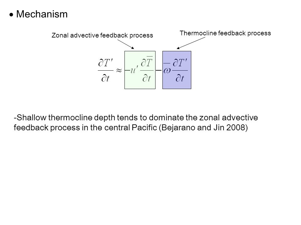  Mechanism Thermocline feedback process -Shallow thermocline depth tends to dominate the zonal advective feedback process in the central Pacific (Bejarano and Jin 2008) Zonal advective feedback process