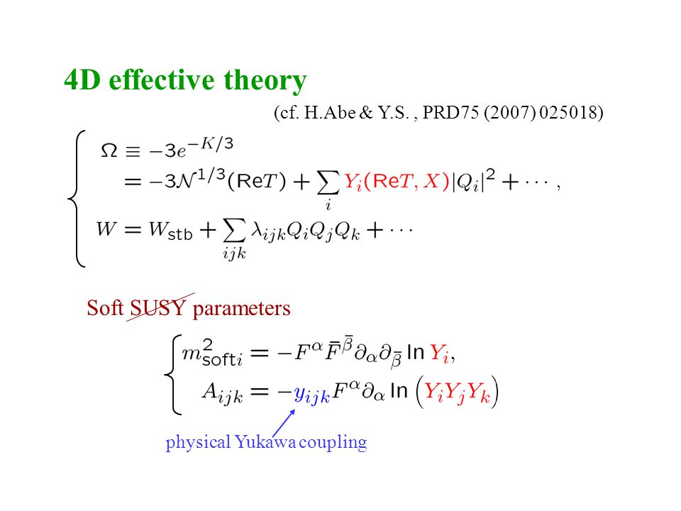 4D effective theory Soft SUSY parameters physical Yukawa coupling (cf.