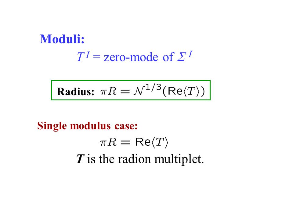 T = zero-mode of  Single modulus case: I I T is the radion multiplet. Radius: Moduli: