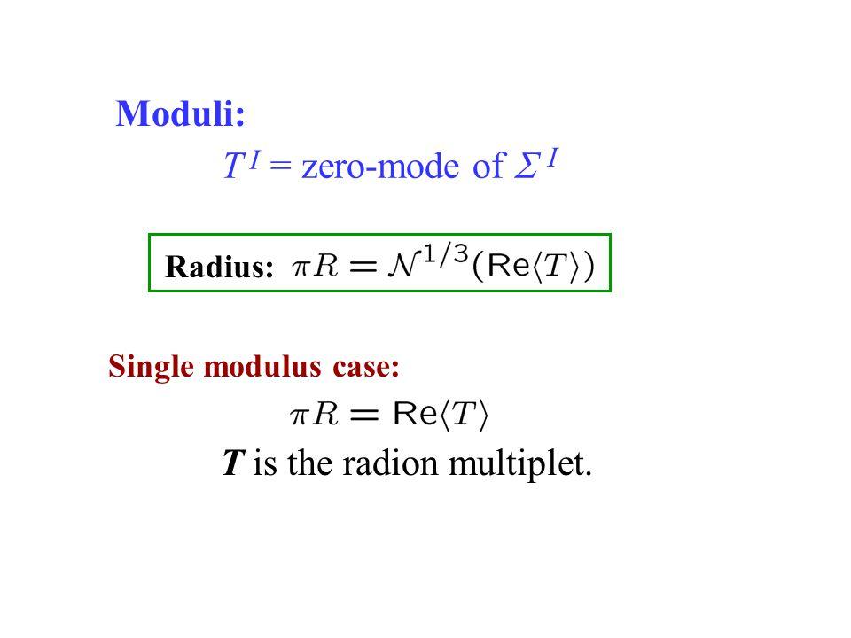 T = zero-mode of  Single modulus case: I I T is the radion multiplet. Radius: Moduli: