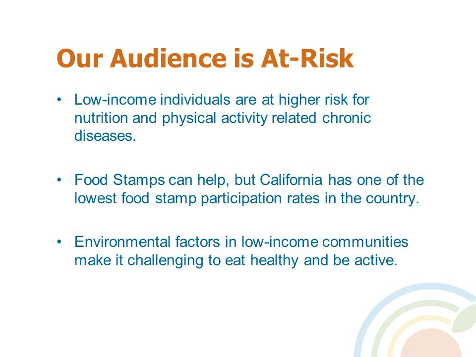 Our Audience is At-Risk Low-income individuals are at higher risk for nutrition and physical activity related chronic diseases.